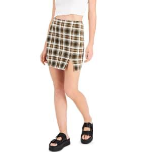 Just Polly Women's Plaid Mini Skirt for $10