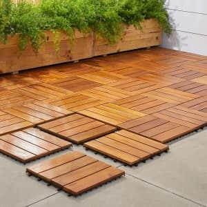 Vifah 4-Slat Acacia Interlocking Deck Tile 10-Pack for $58