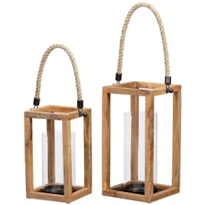 StyleWell Mango Wood Lantern Candle Holder 2-Piece Set for $37