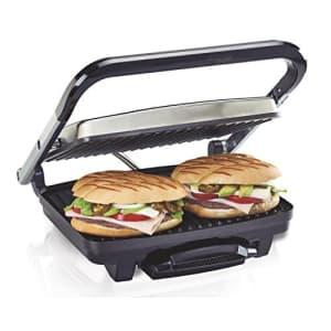 Hamilton Beach Panini Press, Sandwich Maker & Electric Indoor Grill, Upright Storage, Nonstick Easy for $49