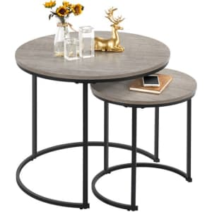 SmileMart Rustic Nesting Coffee Table Set for $64