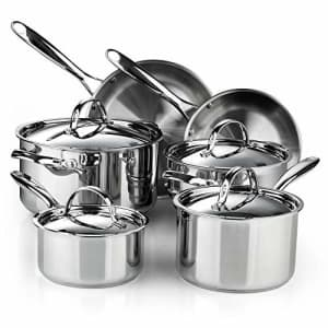 Cooks Standard Classic 10-Piece Stainless Steel Cookware Set, Silver for $214