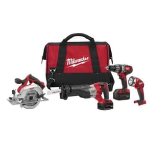 Milwaukee 2694-24 M18 18-Volt 4-Tool Cordless Combo Kit With Drill Flashlight Reciprocating and for $558