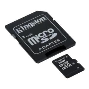 Kingston 8 GB microSDHC Class 4 Flash Memory Card SDC4/8GB,Black for $11