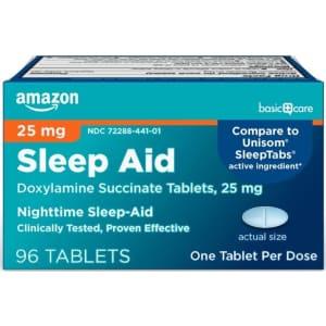 Amazon Basic Care Sleep Aid Tablets 96-Count for $5