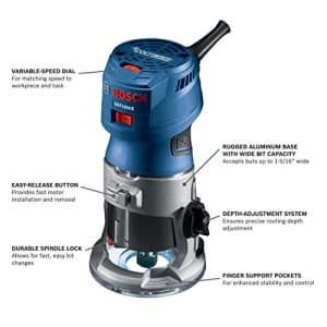 Bosch GKF125CE-RT 1.25 HP Variable Speed Palm Router with LED (Renewed) for $120