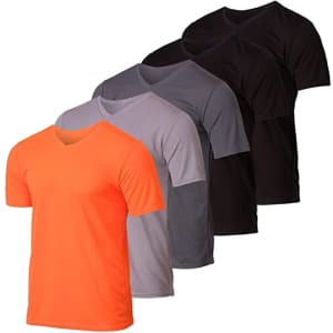 Real Essentials Men's V-Neck Moisture-Wicking T-Shirt 5-Pack for $30