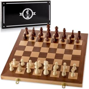 """Chess Armory 15"""" Wooden Chess Set for $29"""