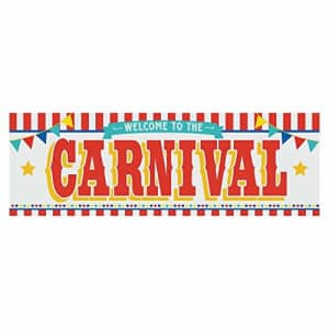 Fun Express Carnival Welcome Party Banner - 6 Feet Long - Circus Party Supplies for $10