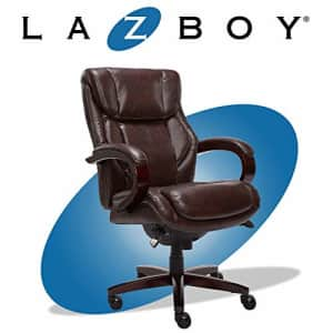 La-Z-Boy Bellamy Executive Office Chair with Memory Foam Cushions, Solid Wood Arms and Base, for $393