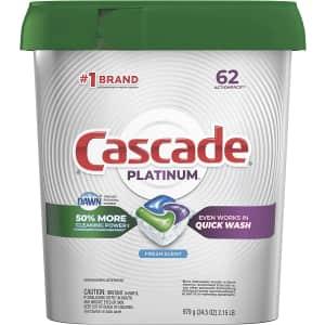 Cascade Platinum Dishwasher Pods 62-Count Box for $15 via Sub & Save