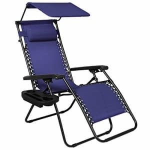 Best Choice Products Folding Zero Gravity Outdoor Recliner Patio Lounge Chair w/Adjustable Canopy for $120