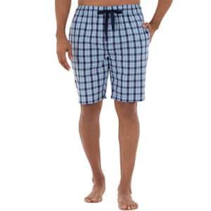 IZOD Men's Plaid Print Relaxed Fit Poplin Drawstring Sleep Shorts, Navy/Blue, XX-Large for $14