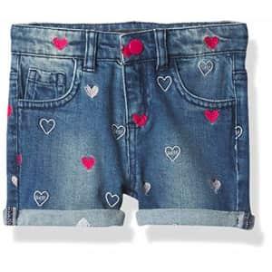 GUESS Girls' Little Heart Embroidered Stretch Denim Short, Medium Wash, 5 for $30
