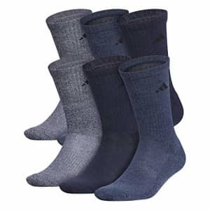 adidas Men's Athletic Cushioned Crew Socks (6-Pair), Legend Ink Blue/Tech Ink Gray Marl, Large for $28