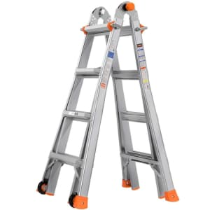 Tacklife 17-Foot Telescoping Ladder with Wheels for $140