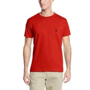 U.S. Polo Assn. Men's Crew Neck Pocket T-Shirt with Small Pony, Engine Red, X-Large for $9