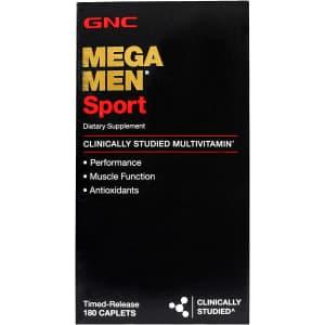 GNC Mega Men Sport Daily Multivitamin 180-Count Pack for $16