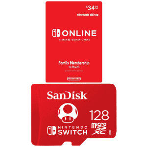 Nintendo Switch Online 12-Month Family Membership w/ SanDisk 128GB microSDXC Card: $34.99