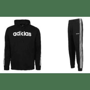 adidas Men's Essential 3-Stripe Hoodie w/ Fleece Joggers for $40