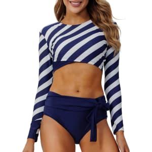 Peddney Women's Rash Guard 2-Piece Swimsuit for $19