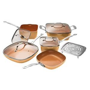 Gotham Steel Nonstick 10 Piece Square Cookware Set, Large, Copper for $177