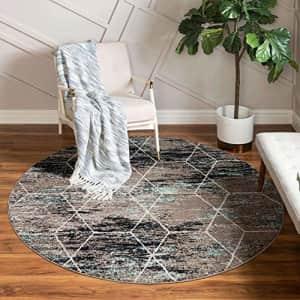 Unique Loom Trellis Frieze Collection Lattice Moroccan Geometric Modern Round Rug, 4 Feet, for $48