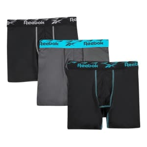 Reebok Men's Cooling Performance Boxer Briefs 3-Pack for $12