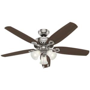 "Hunter Fan Company Builder Plus 52"" Indoor Ceiling Fan w/ LED Lights for $84"