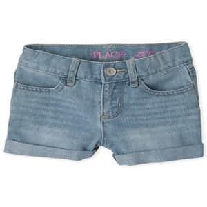 The Children's Place Girls' Plus Denim Shorts, LT 90S BLU WSH, 10P for $16