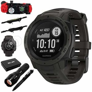 Garmin Instinct Rugged Outdoor Watch w/GPS & Heart Rate Monitoring, Graphite +Accessories Bundle for $250