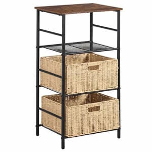 VECELO Industrial Side/End Table Nightstand with 2 Wicker Basket Storage, Printer Shelf Telephone for $73