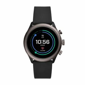 Fossil Men's Sport Heart Rate Metal and Silicone Touchscreen Smartwatch, Color: Grey, Black for $248