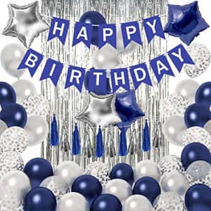 Ouddy Blue Birthday Blue Birthday Decorations for Men - Happy Birthday Banner Silver Navy Blue Balloons for $9