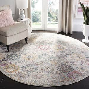 Safavieh Madison Collection MAD611F Bohemian Chic Vintage Distressed Area Rug, 4' Round, Grey/Gold for $32