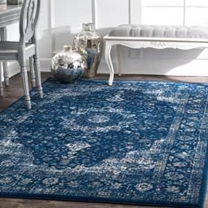 nuLOOM Paisley Verona Vintage Persian Area Rug, 4' x 6', Dark Blue for $93