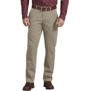 Dickies Men's Flex Slim Fit Chino Flat Front Pants for $14