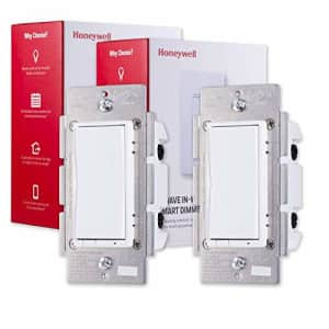 Honeywell UltraPro Z-Wave Plus Smart Light Dimmer Switch 2-pack, In-Wall White & Almond Paddles   for $58