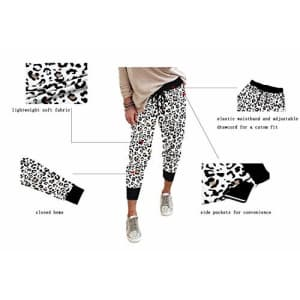 onlypuff Casual Drawstring Running Pants for Women Activewear Pockets Running Pants Leopard White for $26