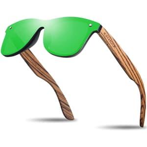 Kithdia Polarized Zebra Wooden Bamboo Sunglasses for $22