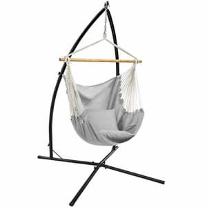SONGMICS Hammock Chair with Stand, Large Swing Chair with 2 Cushions, Hanging Chair Stand, Holds up for $130