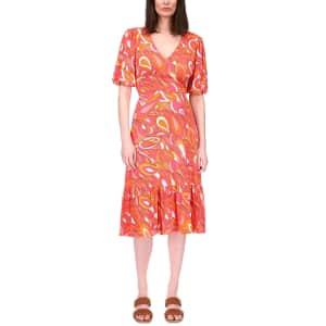 Michael Kors Women's Petite Tie-Back Puff-Sleeve Dress for $39