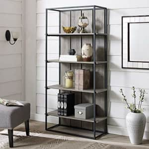 Walker Edison Furniture Company Rustic Farmhouse Metal and Wood Bookcase Bookshelf Home Office for $189
