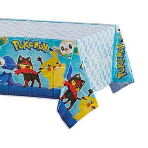 American Greetings Plastic Table Cover for Arts & Crafts, Pokemon Party Supplies (1-Count), for $3
