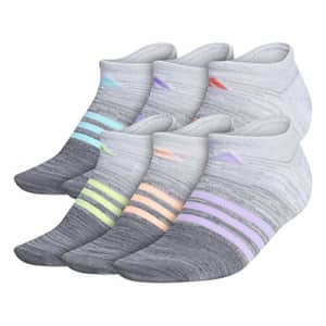 adidas Superlite No Show Socks (6-Pair),White - Clear Onix Space Dye/Grey - Clear Onix Space D,M for $18