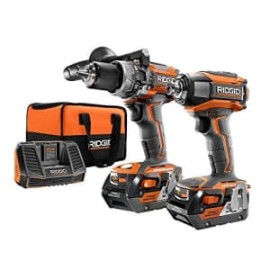 Ridgid 18-Volt Gen5X Lithium-Ion Cordless Brushless Hammer Drill and Impact Driver Combo Kit with for $371