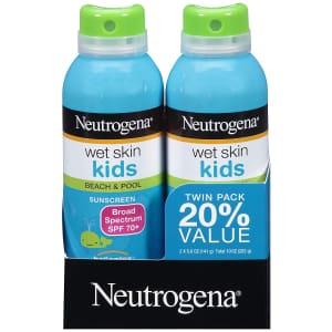 Neutrogena Wet Skin Kids Sunscreen Spray 5-Oz. Bottle 2-Pack for $11