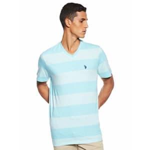 U.S. Polo Assn. Men's Short Sleeve V-Neck Striped T-Shirt, Artist Aqua Heather, S for $11