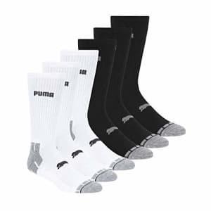 PUMA mens 6 Pack Crew running socks, White/Black/Grey, 10 1 US for $20
