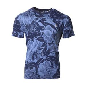 Original Penguin Men's Standard Floral Print Short Sleeve Fashion Tee Shirt, Dark Sapphire, Medium for $20